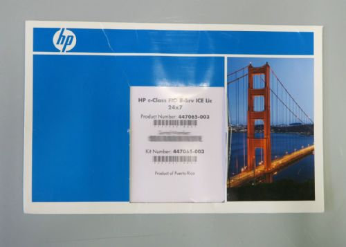 NEW SEALED - HP c-Class FIO 8-Srv ICE Lic 24x7 - 447065-003 Server Software